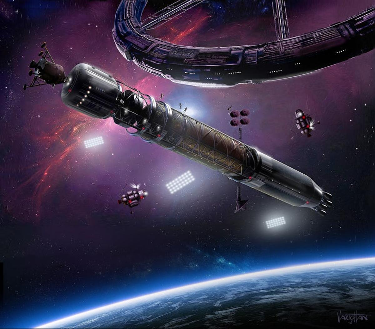 An artist's rendition of the eventual plans for Asgardia, which are farmore advanced than the tiny little CubeSat that was just launched