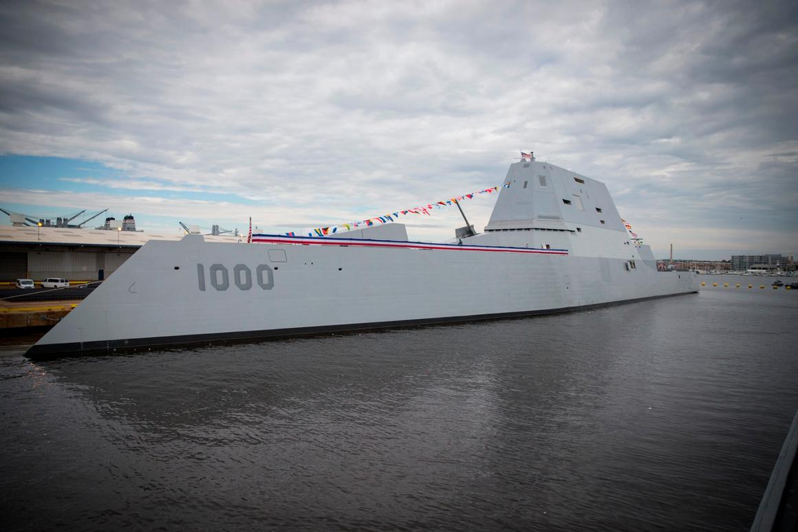 USS Zumwalt in full dress for its commissioning in Baltimore