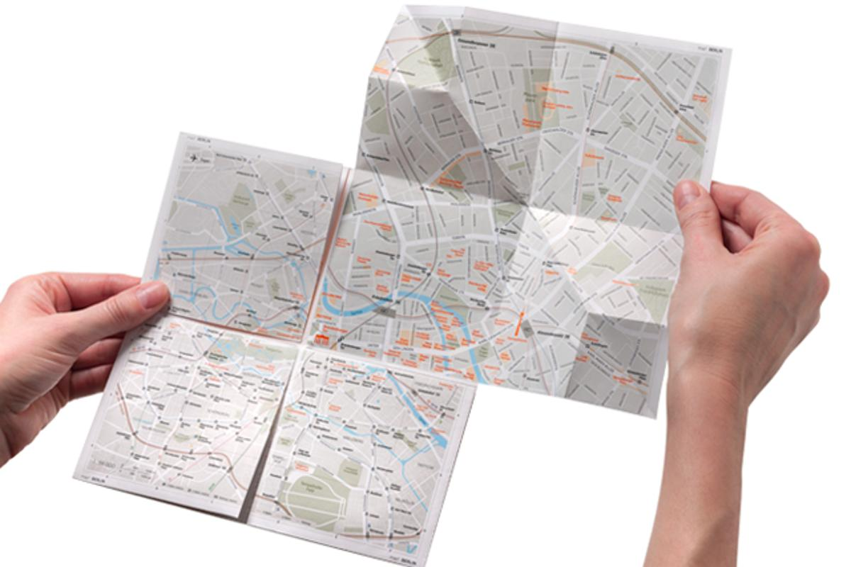 map2 is a paper map that allows users to zoom in on sections of the city, through a unique folding system