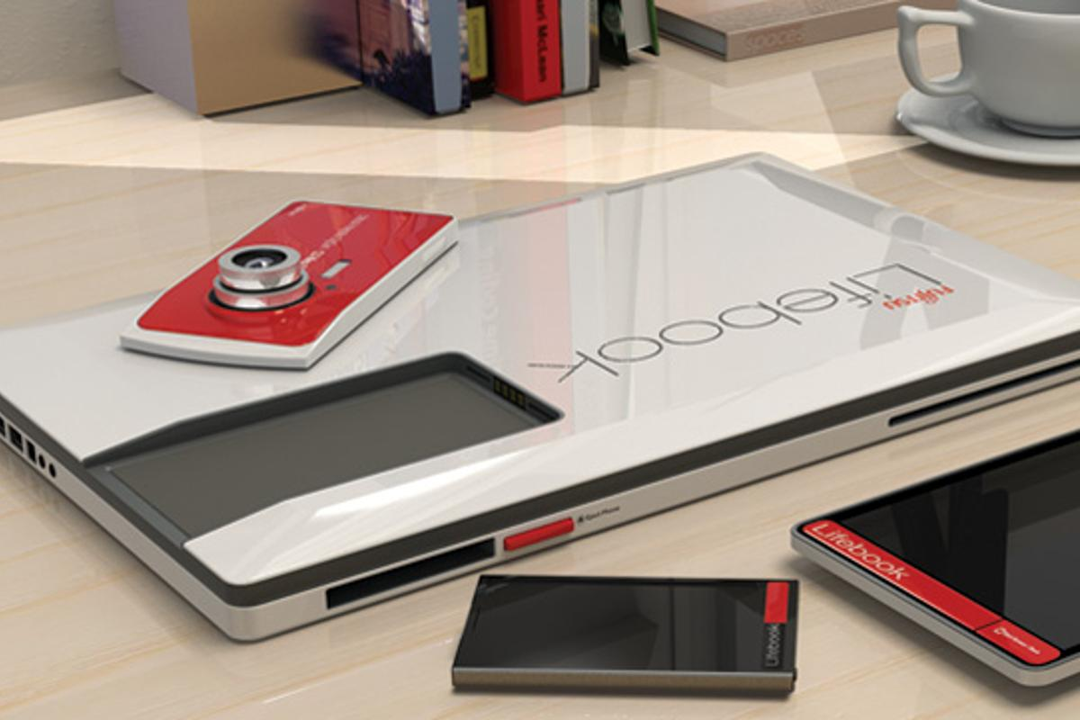 A designer's concept Fujitsu Lifebook would come with slots to insert a smartphone, tablet, and digital camera