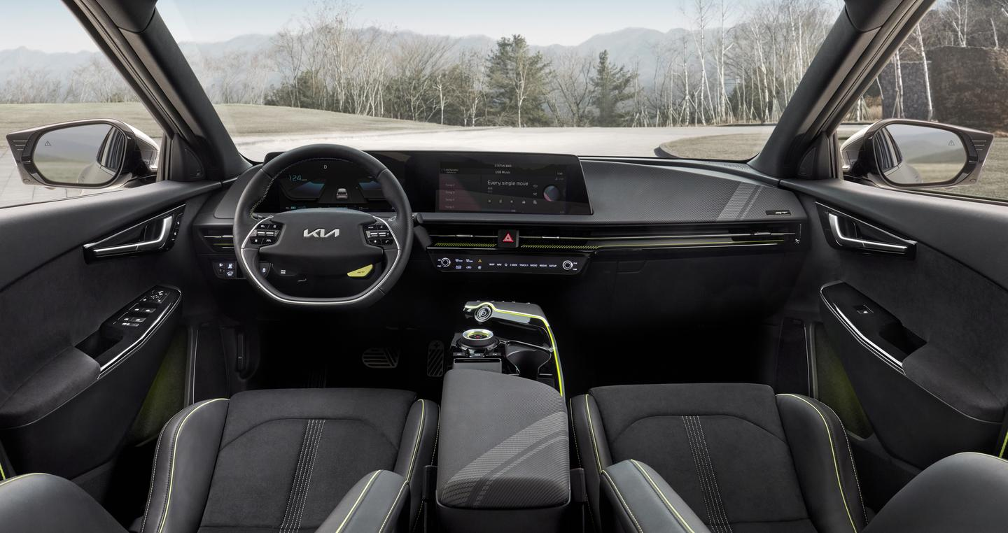 The EV6 has a curved dual-screen display for infotainment and gauges
