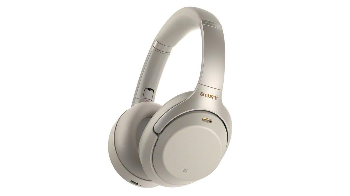 The Sony WH-1000MX3 headphones in platinum silver