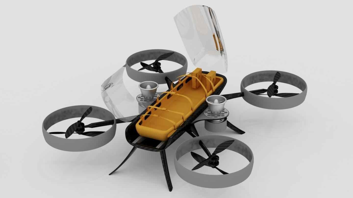 The drone ambulance concept designed to autonomously carry a single injured passenger