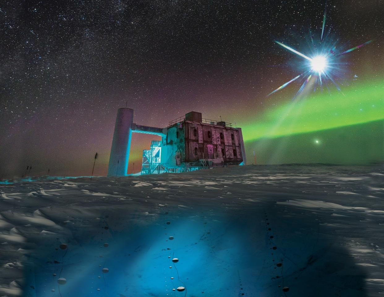 An artistic render of the IceCube facility, a blazar and the sensors that detect neutrinos under the ice