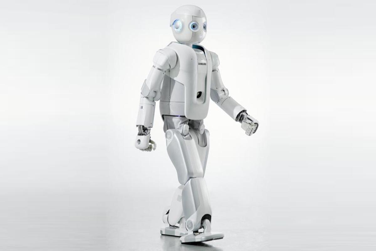 A photorealistic rendering of Samsung's new humanoid robot, Roboray