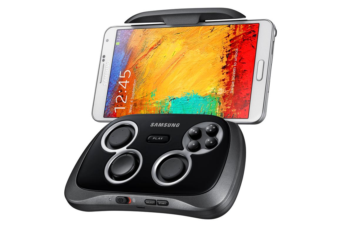 The Samsung GamePad with a smartphone locked in
