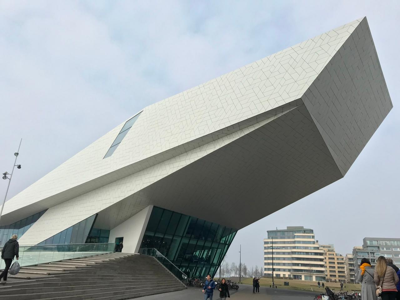 The EYE Filmmuseum designed by Delugan Meissl Associated Architects is the Netherlands' national film museum. Its white roof is meant to symbolize cinematography