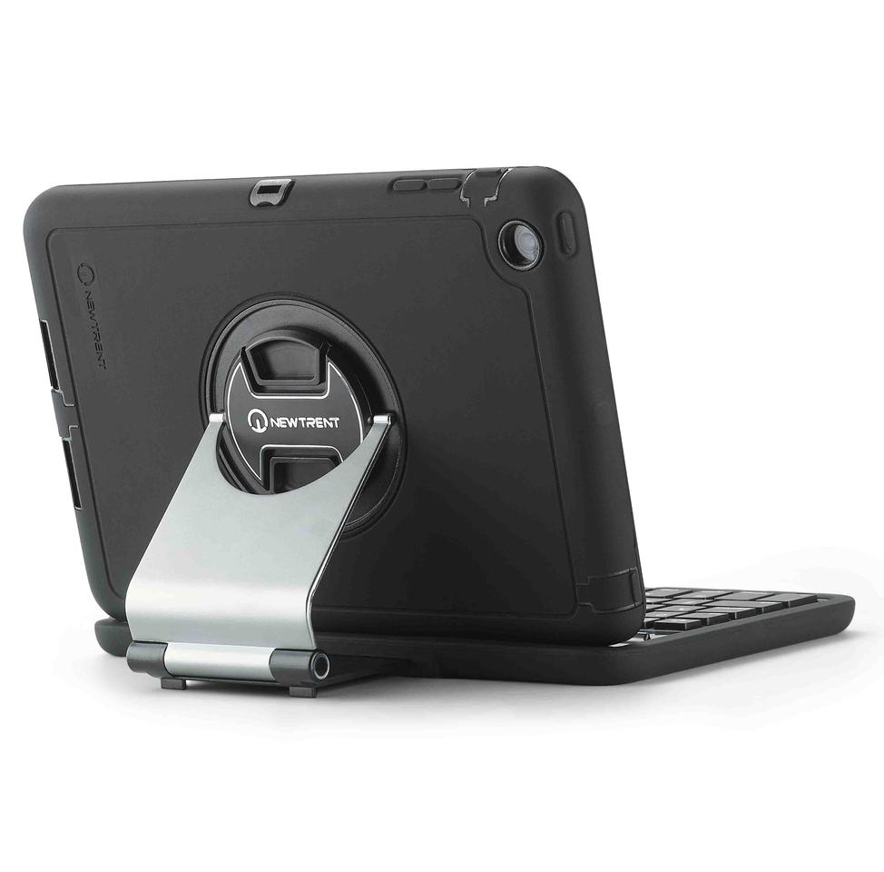 The keyboard-containing half of the case is connected to the tablet-containing half using an aluminum arm
