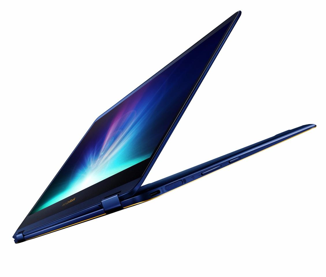 The 13.3-inch ZenBook Flip S has a 360° ErgoLift hinge that allows the (up to) 4K resolution multitouch display to be flipped over for tablet mode