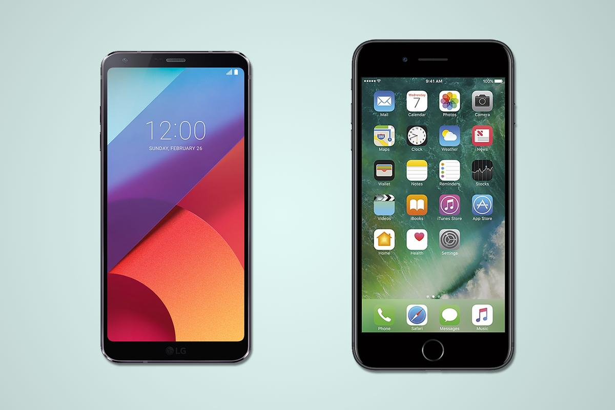 A side-by-side comparison of the LG G6 and iPhone 7 Plus