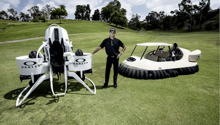 The Golf Cart Jetpack joins the Golf Cart Hovercraft, which Bubba Watson and Oakley designed in 2013