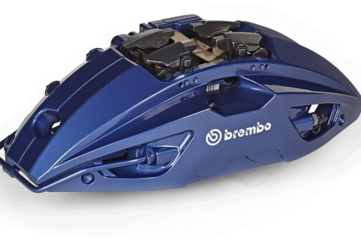 The new brake caliper from Brembo saves weight by strategically placed openings on its body