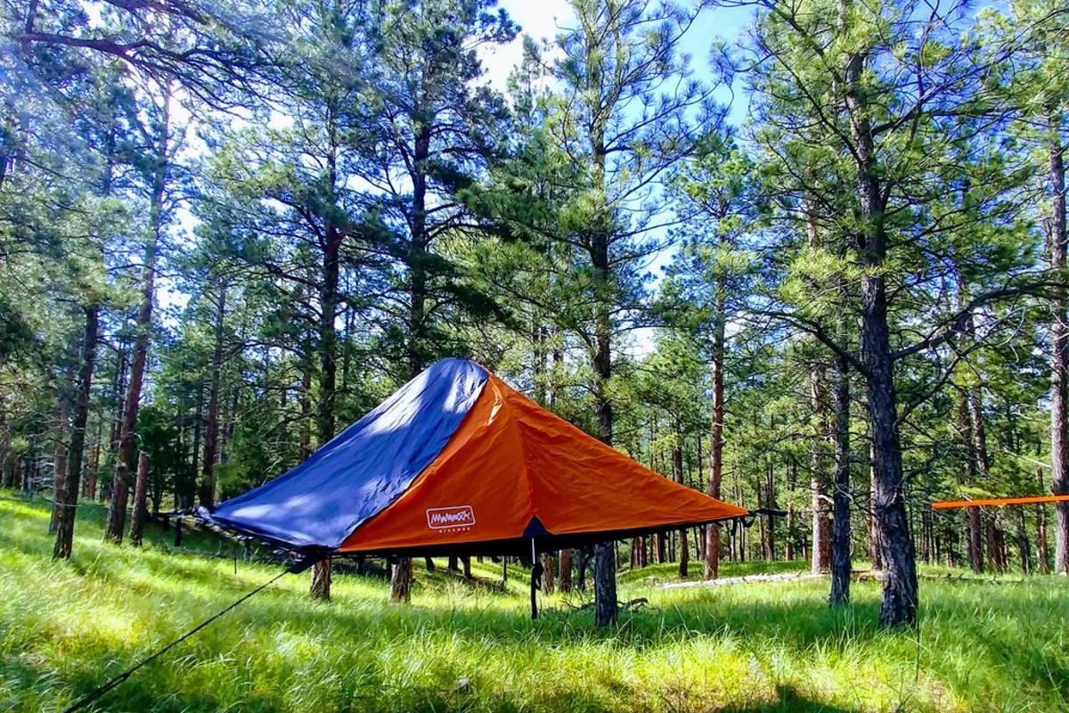 The Bivymok system can be suspended from trees to lift campers off the ground