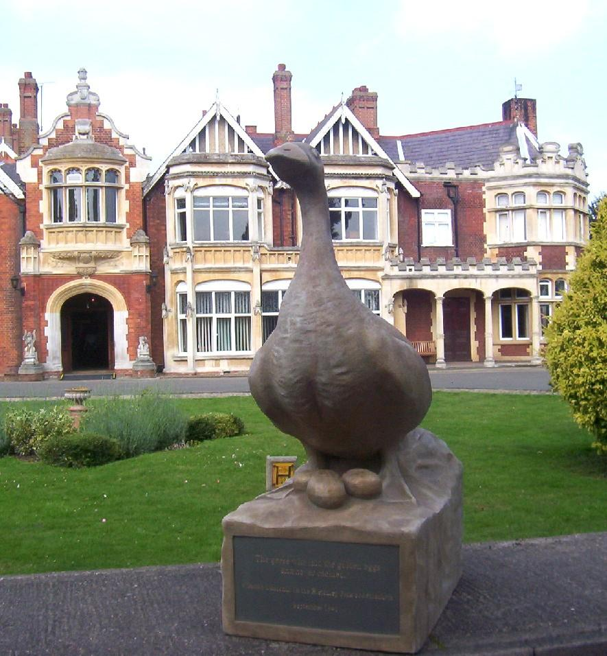 A statue on display at Bletchley Park to celebrate Winston Churchill's famous reference to the Bletchley Park codebreakers as his 'geese that laid the golden eggs but never cackled' (source: BP)