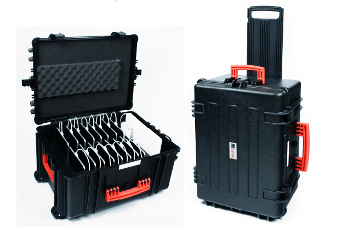 The InSync travel case has been designed to securely transport and charge up to 16 iPads and a 13-inch laptop
