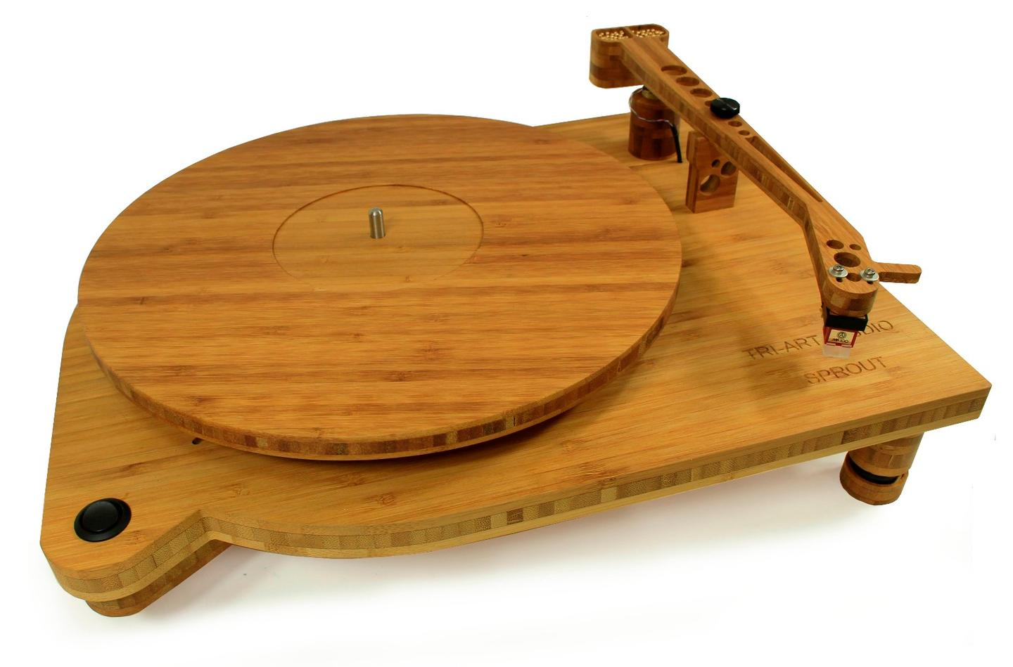 The Sprout TA-0.5 turntable's platter, plinth, feet and tonearm are all made from bamboo
