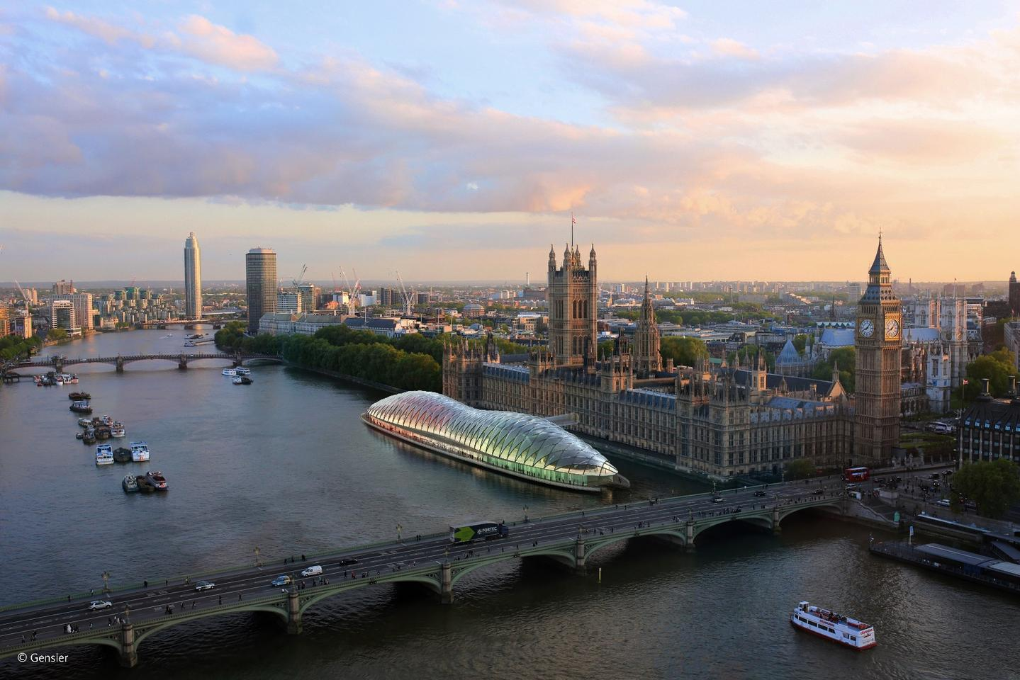 According to Gensler, its striking glazed design draws inspiration from the magnificent hammer-beam timber roof of Westminster Hall