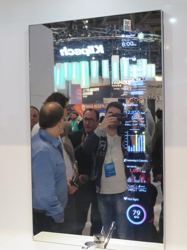 The bathroom smart mirror concept offers data like weather