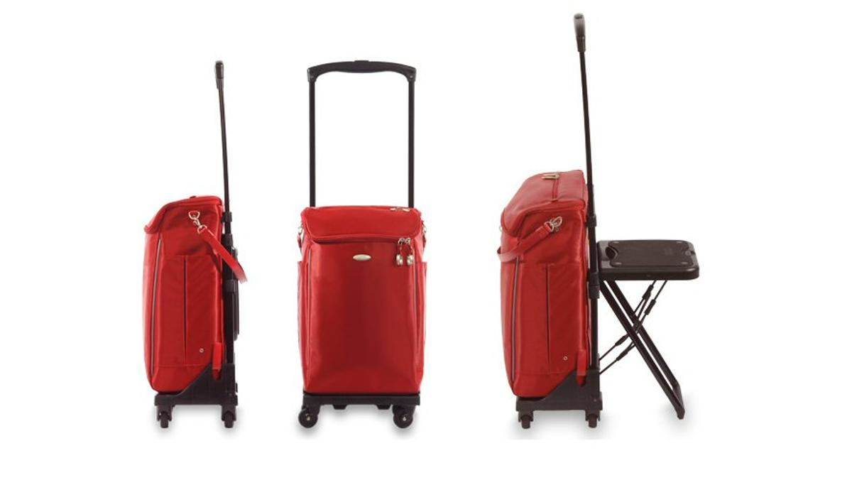 The WalkinBag not only offers travelers some lean-on support courtesy of the curved handle, but also provides a means of taking the weight off by offering built-in seating