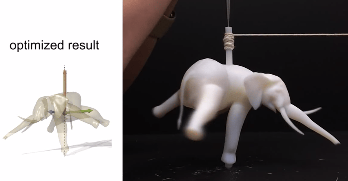 An asymmetrical elephant top that balance thanks to an algorithm created at Disney Research Zurich and ETH Zurich