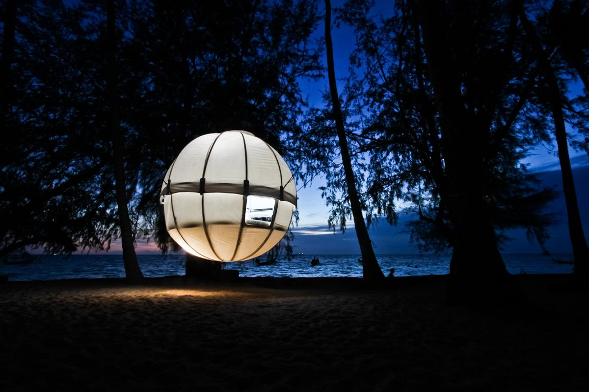 The Cocoon Tree is a pod that can be suspended from trees and contains a sleeping area big enough for two adults