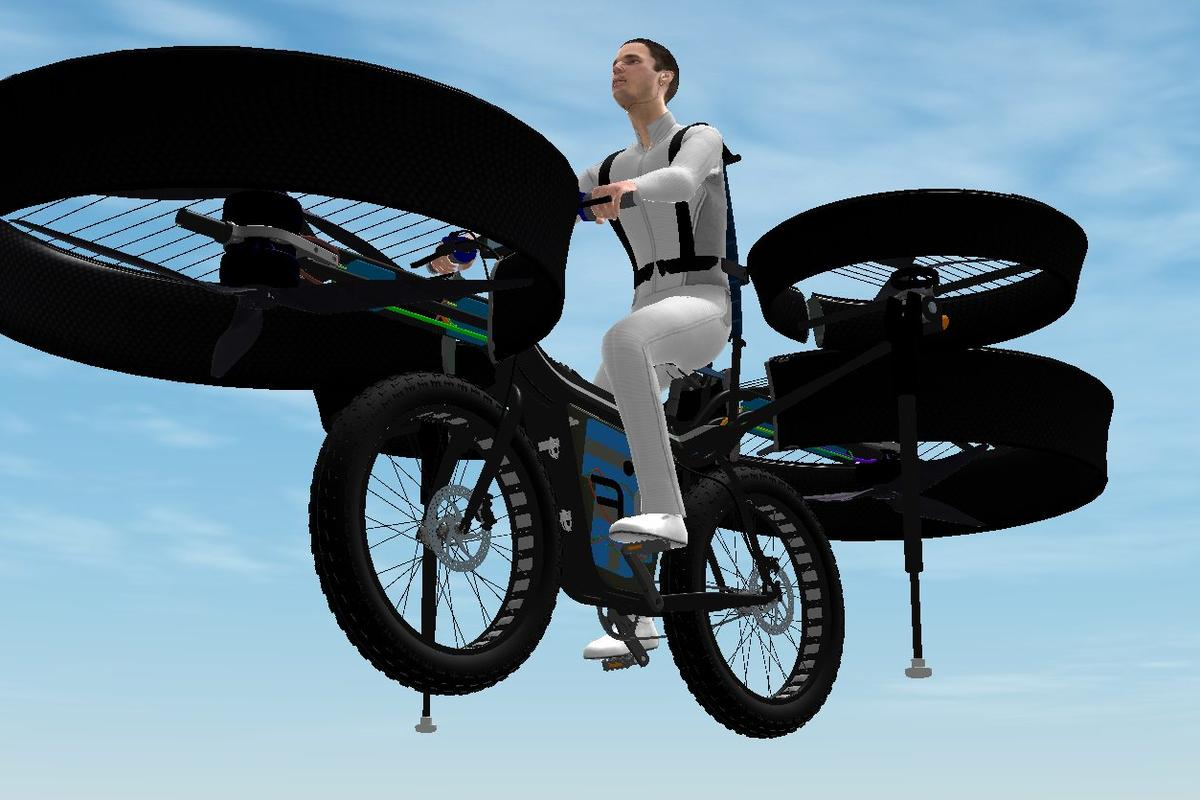 A team of enthusiasts from a number of Czech companies has designed a flying bicycle with six propellers for lift and stability, and is about to start building the FBike ahead of scheduled test flights in August