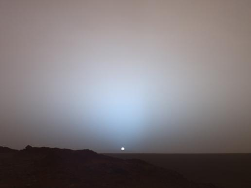 NASA's Mars Exploration Rover Spirit captured this stunning view as the Sun sank below the rim of Gusev crater on Mars(Image: NASA/JPL/Texas A&M/Cornell)