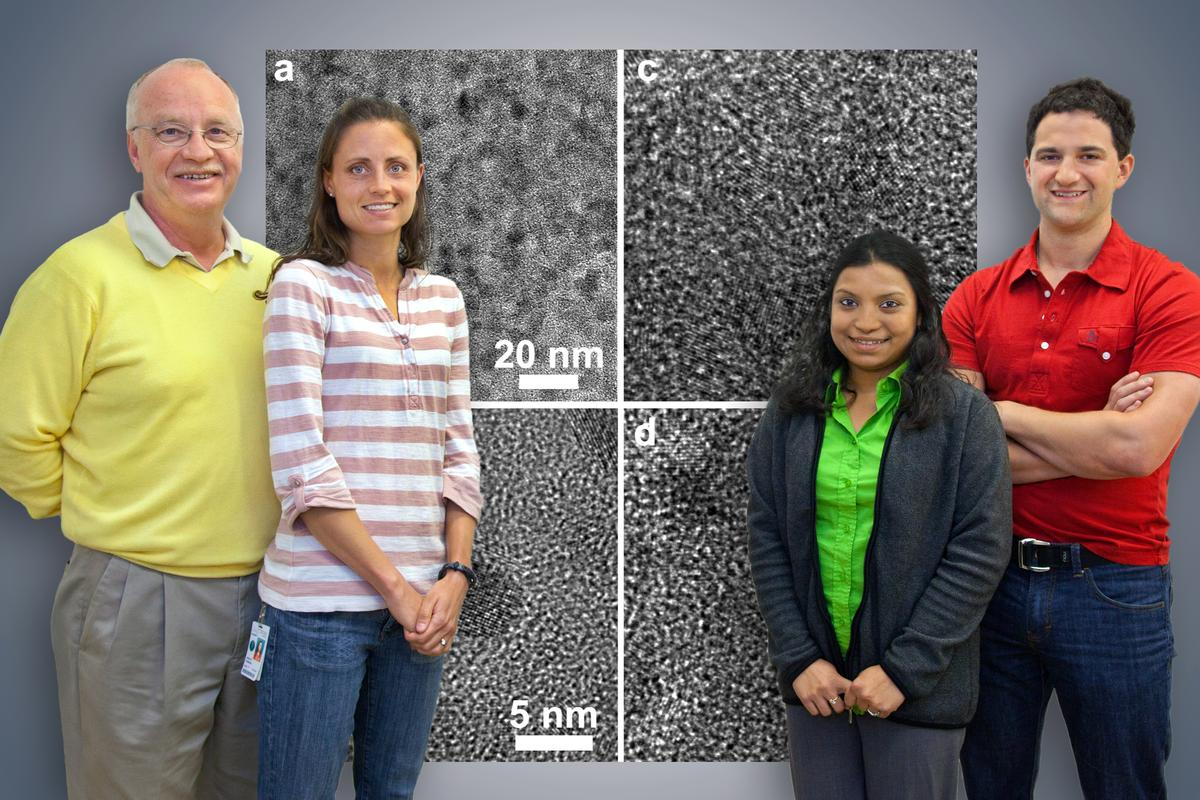 A scientific team including Christian Kisielowski, Anne Ruminski, Rizia Bardhan and Jeff Urban has developed a new nanocomposite for high-capacity hydrogen storage (Photo: Roy Kaltschmidt, Berkeley Lab Public Affairs)