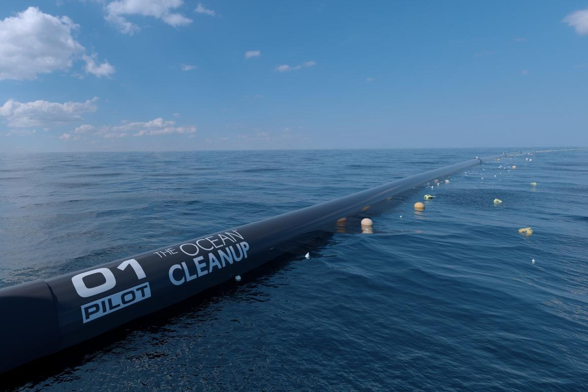 The Ocean Cleanup computer rendering, close-up view