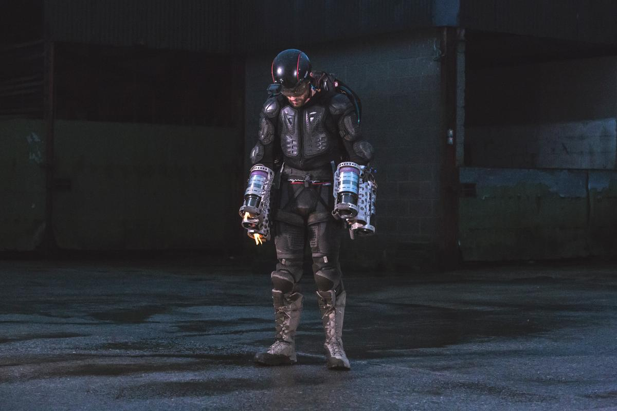 Two jet engines on his back, two on each arm: the Daedalus flight suit