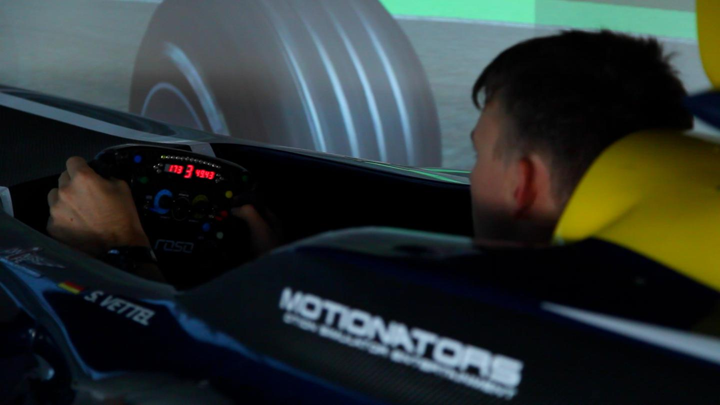 F2000 racer Scott Andrews in the Motionators simulator