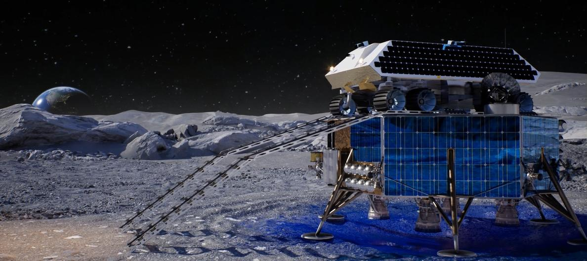 The ice-mining rover being deployed from its lander