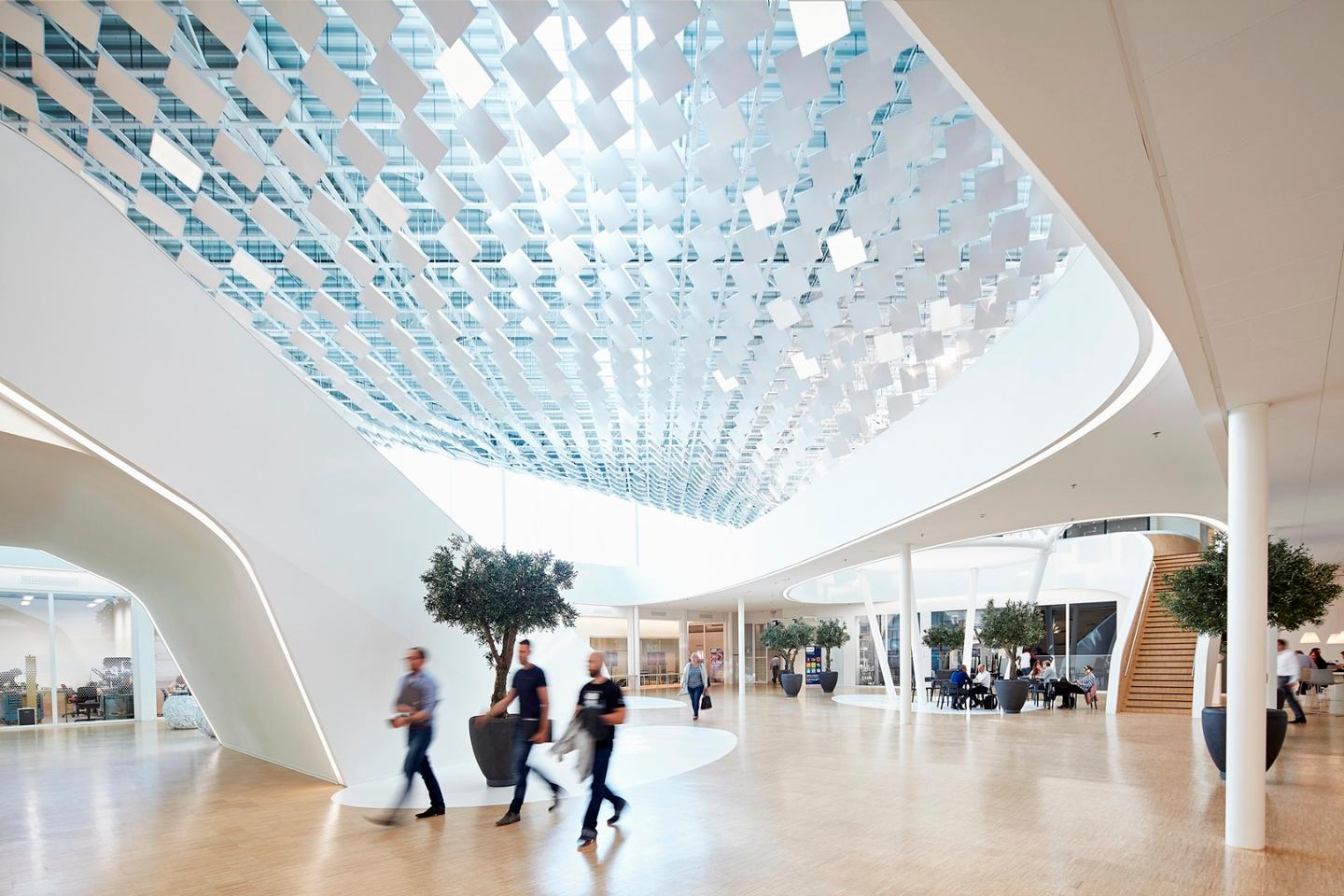 The artificial tree is installed in the atrium of the Philips Lighting HQ in Eindhoven, Netherlands