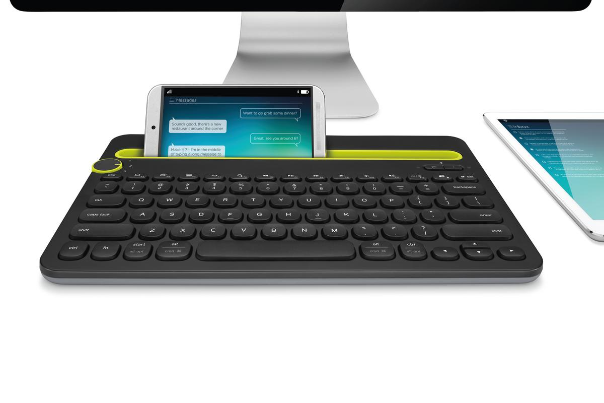 The Logitech K480 bluetooth keyboard allows users to connect to and switch between three different devices