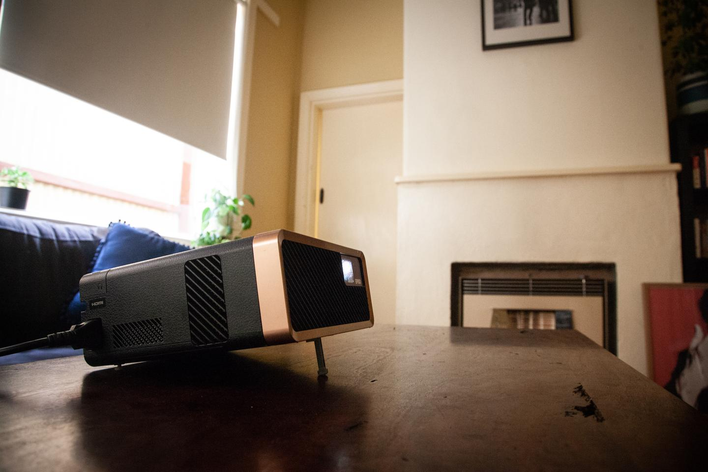 The Epson EF-100 portable projector makes a nice addition to coffee table, or wherever you choose to plonk it down