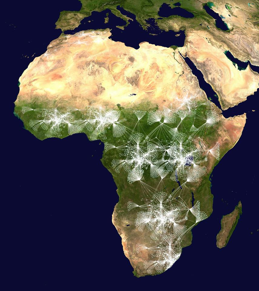 A depiction of how the Matternet network might be routed throughout Africa