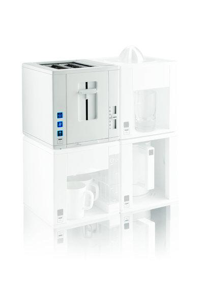 Compact4All features four white cubes containing a kettle, toaster, coffee maker and juicer