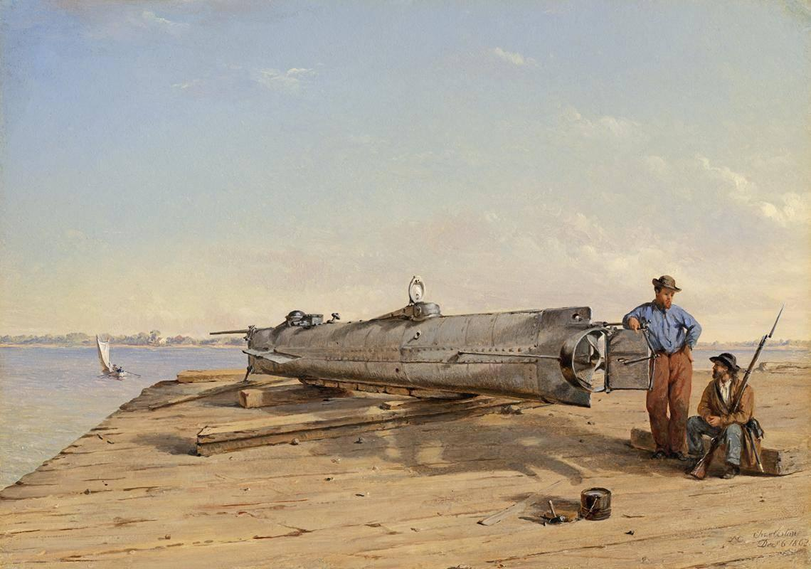 """An oil painting by Conrad Wise Chapman, """"Submarine Torpedo Boat H.L. Hunley, Dec. 6, 1863"""""""