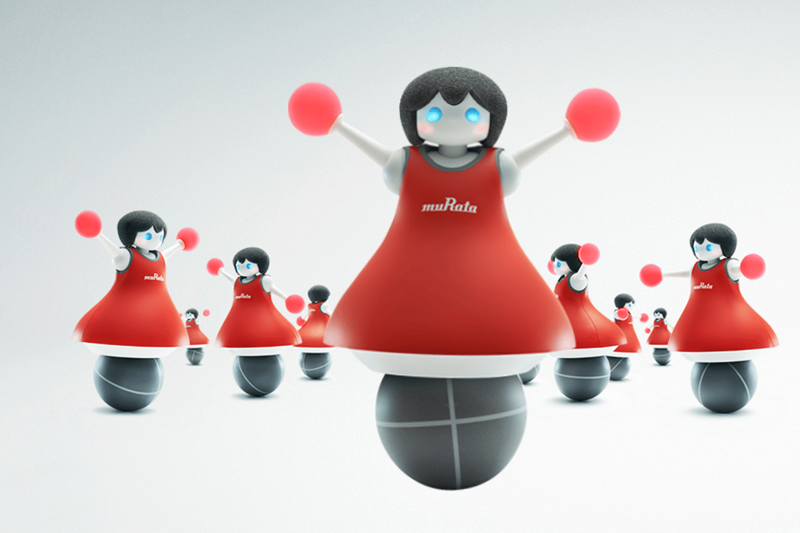 The Murata Cheerleaders use infrared sensors and ultrasonics to keep position