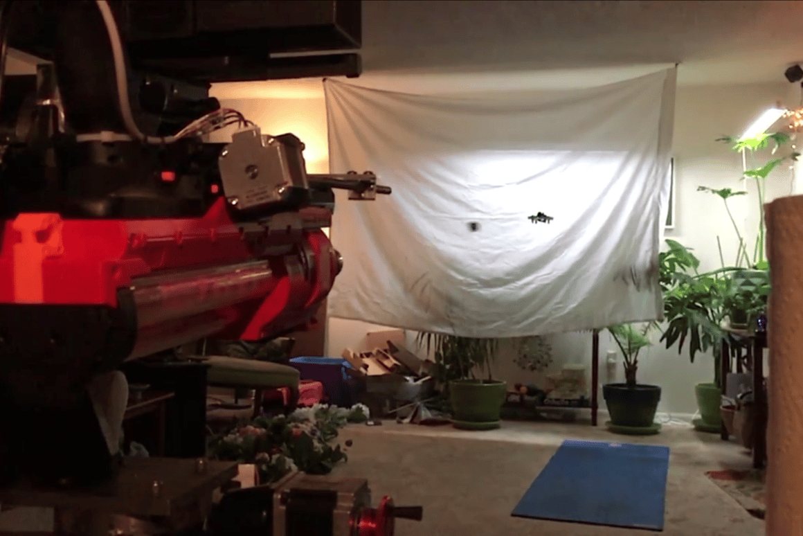 The DIY turret successfully targets and shoots down a micro-drone
