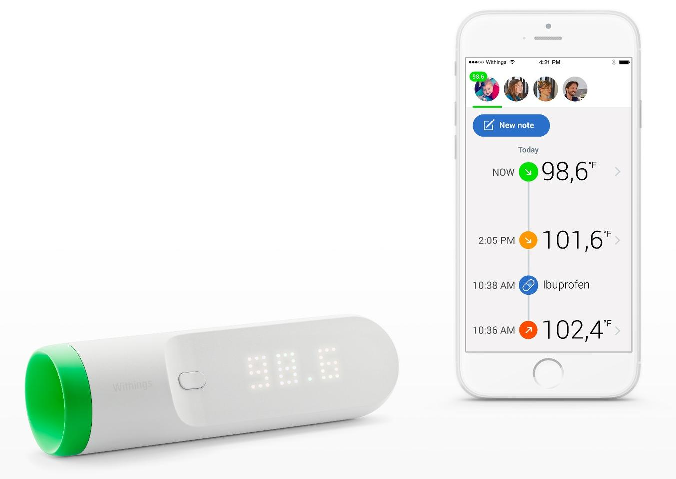 The Withings Thermo works with iOS and Android apps to log temperature readings and other additional symptoms
