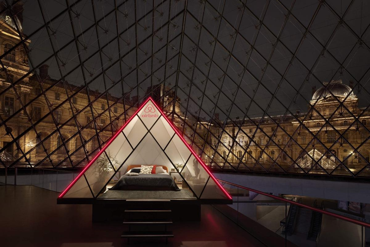 The winner of the competition and their guest will sleep in a pyramid-shaped bedroom installed within the Louvre's famous pyramid