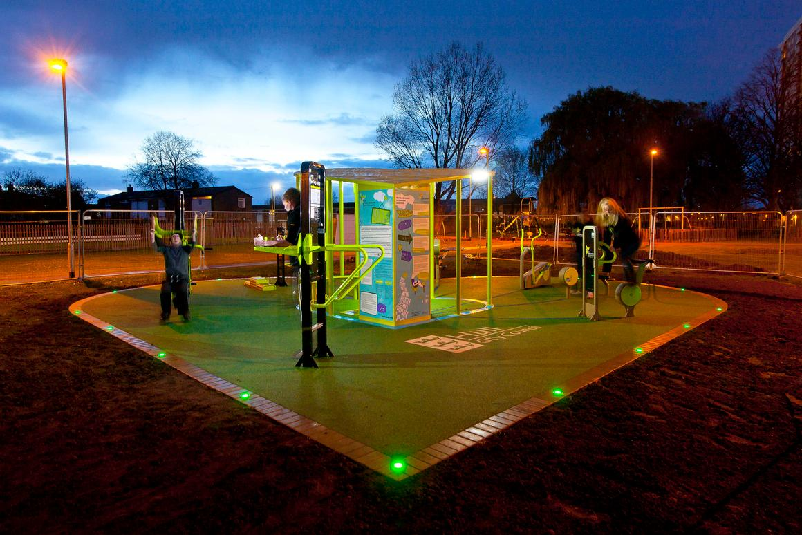 The TGO Green Heart outdoor gym converts energy generated by users of its exercise equipment into useable electricity