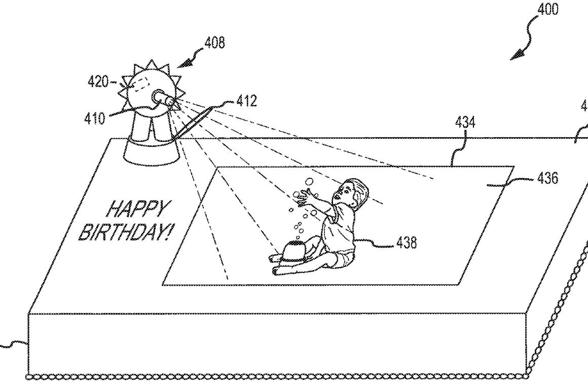 The patent outlines plans for augmented reality cakes and other food products that would display interactive movies and images onto edible treats