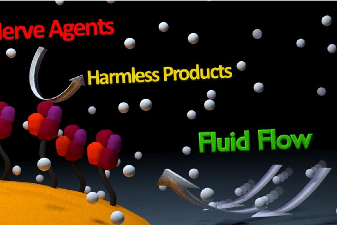 Newly developed enzyme nanobots pump fluid and convert nerve agents into harmless products