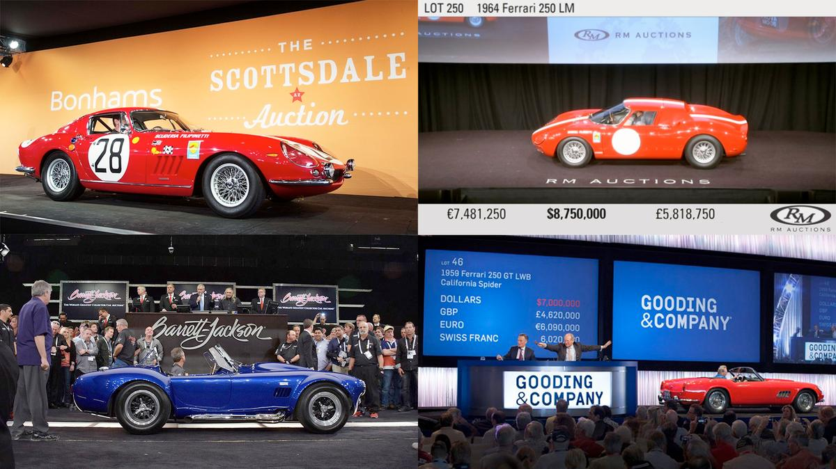 The four most expensive cars to sell at Scottsdale and appropriately, it's one each for the four elite rare car auction houses. From top left clockwise, a 1966 Ferrari 275GTB Competizione was sold by Bonhams for US$9,405,000, a 1964 Ferrari 250 LM was sold by RM Auctions for US$9,625,000, a 1959 Ferrari 250 GT LWB California Spider was sold by Gooding & Co. for US$7,700,000 and Carroll Shelby's personal 800 hp Cobra 427 Super Snake was sold by Barrett-Jackson for US$5,115,000. All four cars are now in our top 100 most expensive cars of all time.