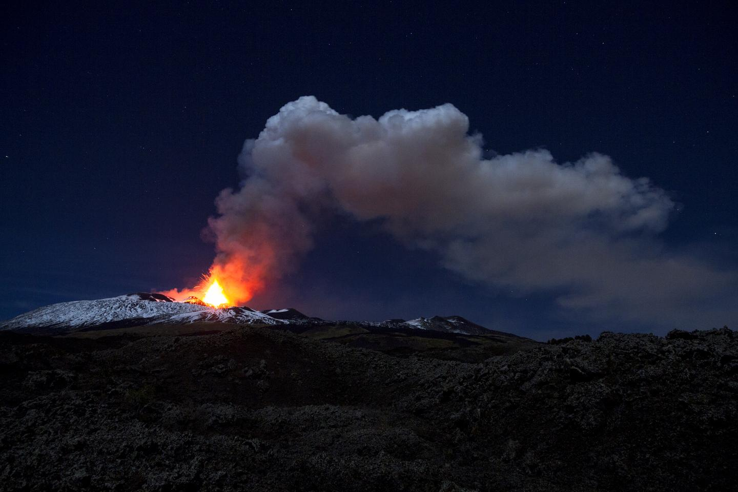 Mount Etna (pictured) is the most active volcano in Europe
