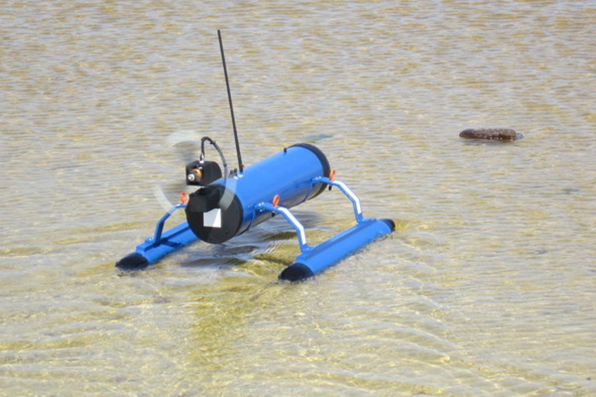 The FrankenDrone can travel easily in shallow water
