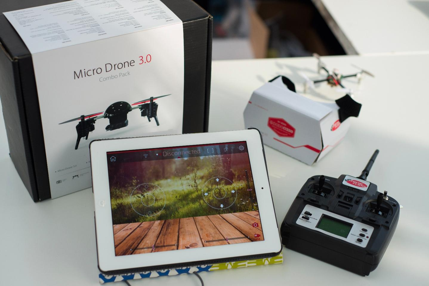 The Micro Drone 3.0 costs US$175 for the drone along with a HD camera module, VR headset, professional remote control, battery and charger