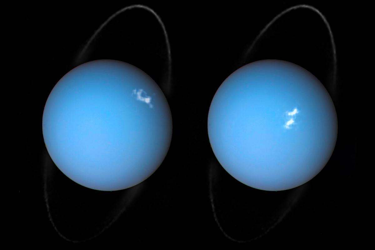 The ultraviolet Hubble data was captured after astronomers detected powerful solar winds heading towards Uranus, and tasked the telescope with observing the effects on the planet's atmosphere and magnetic field